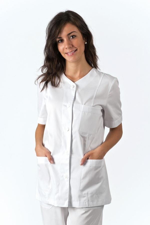 giacca sanitaria bianco per infermiera