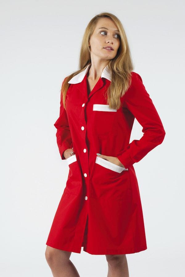 Camice da lavoro donna linea slim bianco o colorato con colletto e bordi colorati