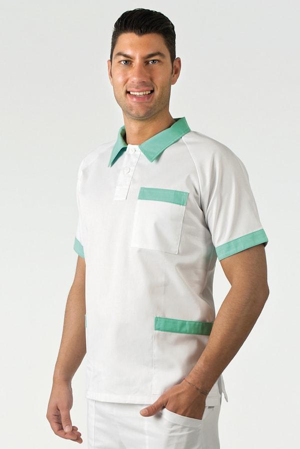 Unisex bianca o colorata con colletto e bordi colorati